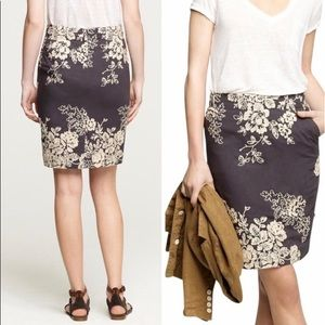 J. Crew Navy Pencil Skirt w/ Floral Embroidery